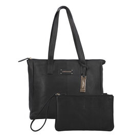 100% Genuine Leather Black Tote Bag and RFID Wrislet with Zipper Closure