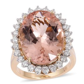 11.70 Ct AAA Marropino Morganite and Diamond Halo Ring in 9K Gold
