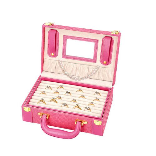 Fuchsia Colour Woven Pattern Briefcase Design Double Layer Jewellery Box with Mirror Inside (Size 27