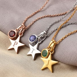 Personalise Engraved Birthstone and Initial Star Pendant with 20Inch Chain in Silver