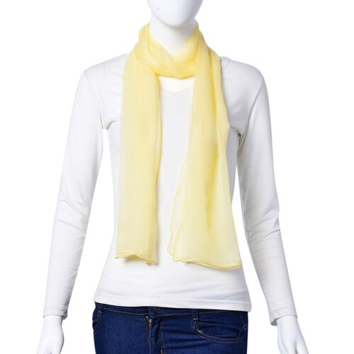 One Time Deal-100% Mulberry Silk Light Yellow Colour Scarf (Size 170X70 Cm)
