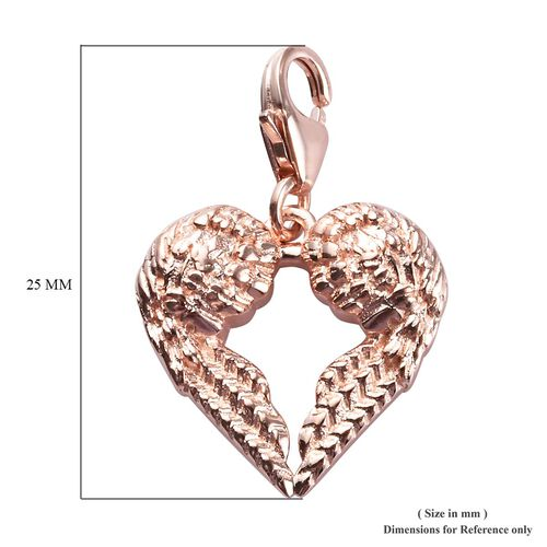Rose Gold Overlay Sterling Silver Angle Wing Charm