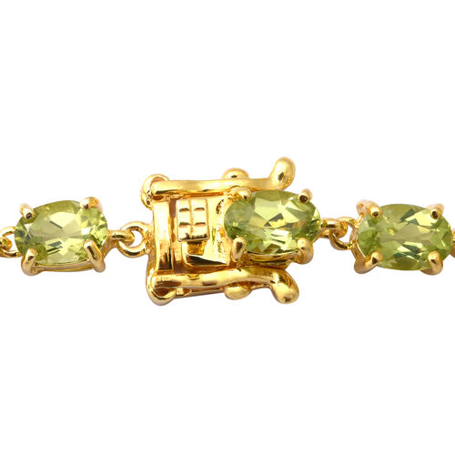 AA Hebei Peridot Bracelet (Size 7.5) in Yellow Gold Overlay Sterling Silver 11.28 Ct, Silver wt 6.20 Gms