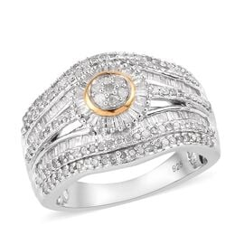 Diamond Ring in Platinum and Yellow Gold Overlay Sterling Silver 1.00 Ct.