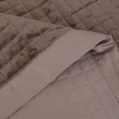 Micro Mink Reverse Matte Satin Quilt with Small Checker Quilting Pattern 240x260cm in Light Champagne