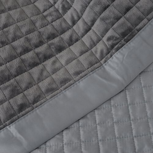 Micro Mink Reverse Matte Satin Quilt with Small Checker Quilting Pattern 240x260cm in Silver Colour