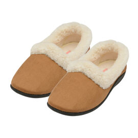 Dunlop Sandie Ladies Fleece Lined Collared Full Slippers in Brown Colour
