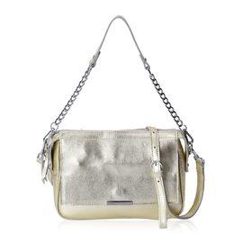 HONG KONG CLOSE OUT DEAL- 100% Genuine Leather Light Golden Colour Cross Body Bag (Size 24x9x18 Cm)