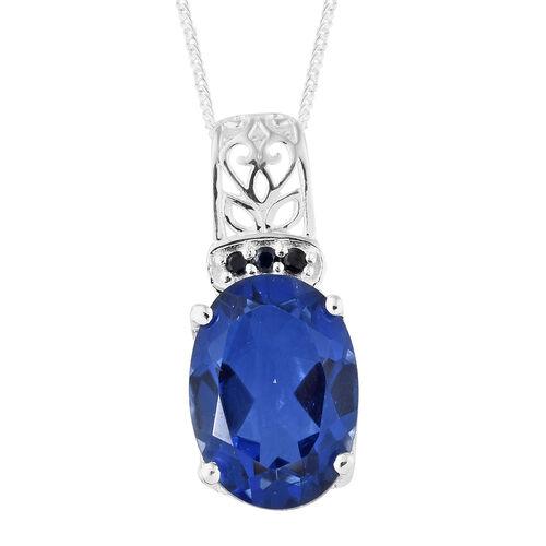 Ceylon Colour Quartz (Ovl), Kanchanaburi Blue Sapphire Pendant with Chain (Size 18) in Sterling Silver 6.500 Ct