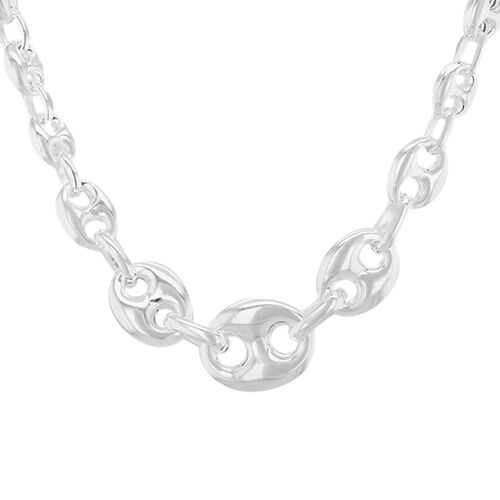 Hatton Garden Graduated Mariner Link Necklace in Sterling Silver 18 Inch