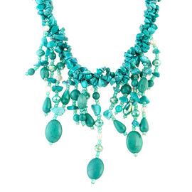 Green Howlite, Simulated Emerald, Fresh Water White Pearl Waterfall Necklace (Size 18 and 6 inch Extender)  875.000  Ct.