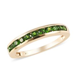 9K Yellow Gold AA Russian Diopside (Rnd) Half Eternity Band Ring 0.65 Ct.