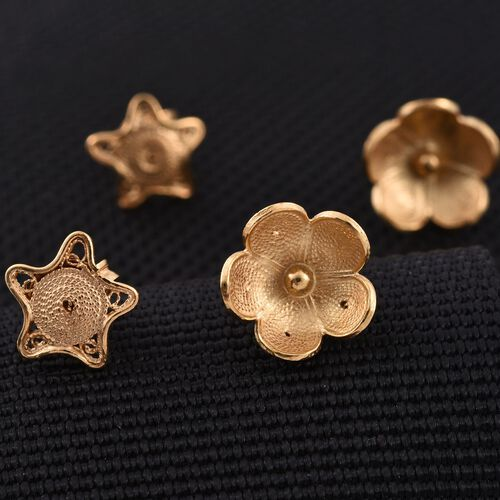 Set of 2 - JCK Vegas Collection Yellow Gold Overlay Sterling Silver Floral Stud Earrings (with Push Back), Silver wt 3.21 Gms.
