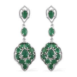 4.25 Ct AA Kagem Zambian Emerald Chandelier Earrings in Platinum Plated Silver 7.23 grams