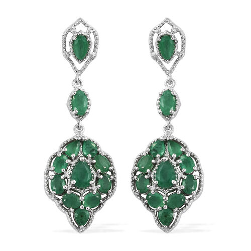 4.25 Ct AA Kagem Zambian Emerald Chandelier Earrings in Platinum Plated Silver 7.23 grams