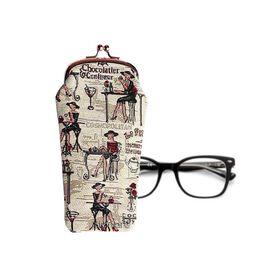 Signare Tapestry - Rendezvous Glasses Pouch Bag in Beige (Size 10x19x5cm)