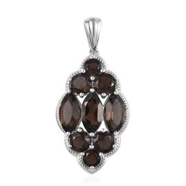 9.25 Ct Brazilian Smoky Quartz Cluster Pendant in Brass