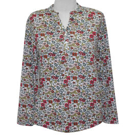 SUGARCRISP Long Sleeve Floral Print Top in White and Multi Colour (Size L)