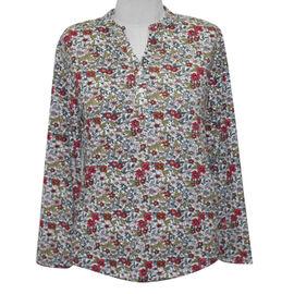 fashionable printed half button top