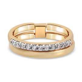 Sundays Child Natural Cambodian Zircon Stackable Ring in Yellow Gold Tone