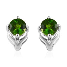 Russian Diopside (1.00 Ct) Platinum Overlay Sterling Silver Earring  1.000  Ct.