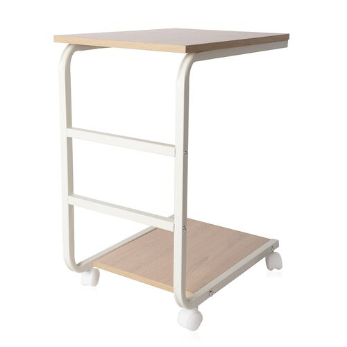 Wooden Finish TrolleyTable with Wheels (Size 63.5x50x30 Cm)