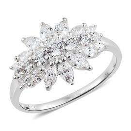 J Francis - Sterling Silver (Rnd and Mrq) Flower Ring Made with SWAROVSKI ZIRCONIA