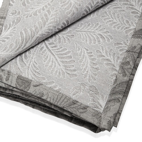 Egyptian Cotton King Size Pique Bedcover with Leaf Motif, Made in Portugal (Size 240X260 cm) - Grey