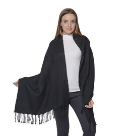 Warm Scarf with Fringe (Size 63x170+10cm) - Black