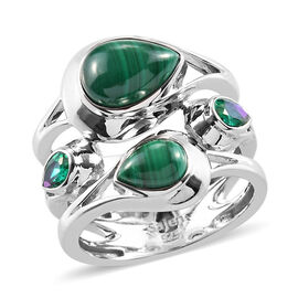 Sajen Silver Malachite and Doublet Quartz Ring in Platinum Overlay Sterling Silver 3.50 Ct.
