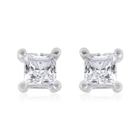 9K White Gold SGL Certified Diamond (I3/G-H) Square Stud Earrings (with Push Back) 0.25 Ct.
