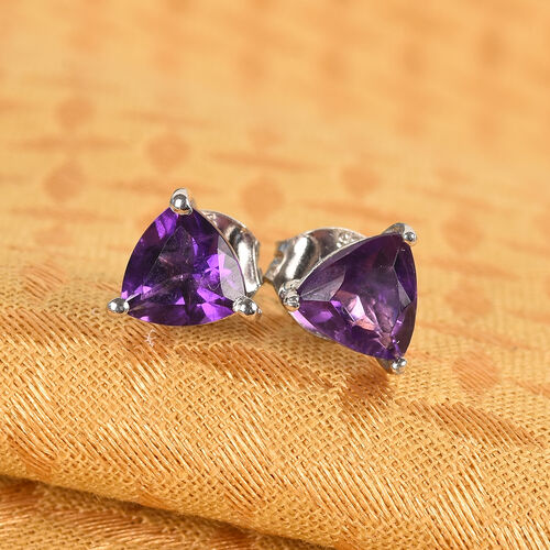 Amethyst Stud Earrings (with Push Back) in Platinum Overlay Sterling Silver 1.25 Ct.