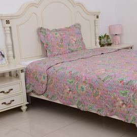 2 Piece Set - Floral Pattern Quilt (Size 240x180 Cm) and Pillow Case (Size 70x50+5 Cm) Lilac