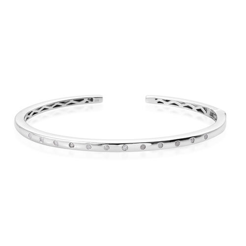 Diamond Bangle (Size 7.5) in Platinum Overlay Sterling Silver  0.250  Ct.