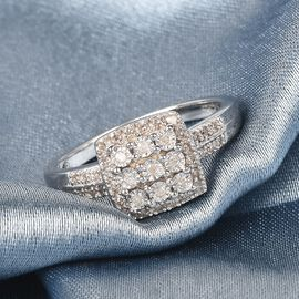 GP White Diamond and Blue Sapphire Ring in Platinum Overlay Sterling Silver