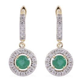 Limited Edition - 9K Yellow Gold AA Kagem Zambian Emerald (Rnd), Natural White Cambodian Zircon Earrings (with Clasp) 1.750 Ct.