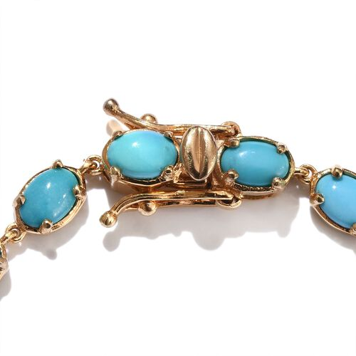 Arizona Sleeping Beauty Turquoise (Ovl) Bracelet (Size 8) in 14K Gold Overlay Sterling Silver 9.250 Ct.