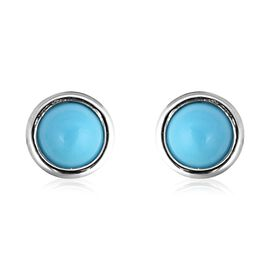 Arizona Sleeping Beauty Turquoise Stud Earrings (with Push Back) in Rhodium Overlay Sterling Silver