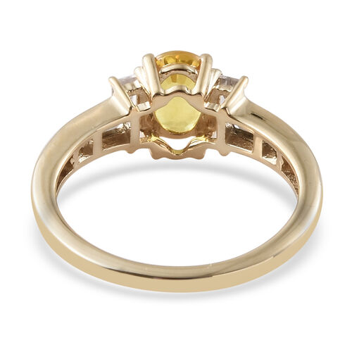 9K Yellow Gold AAA Chanthaburi Yellow Sapphire (Ovl), Natural Cambodian Zircon  Ring 1.850 Ct.