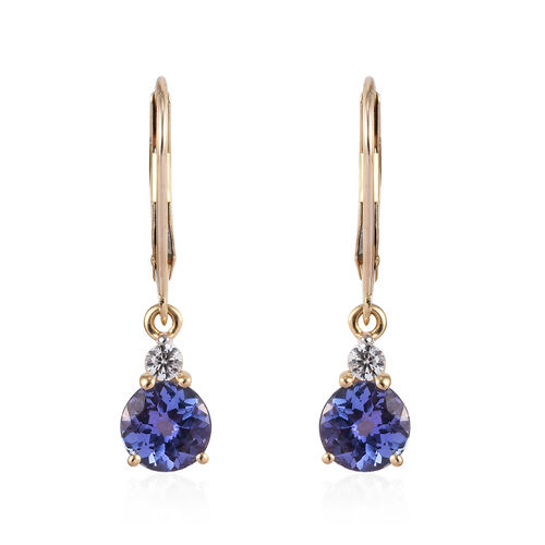 9K Yellow Gold 2 Carat Tanzanite Round, Natural Cambodian Zircon Earrings with Lever Back.