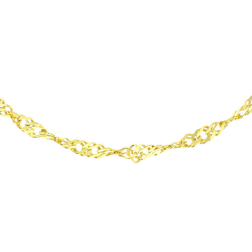 JCK Vegas Collection Yellow Gold Overlay Sterling Silver Twist Curb Chain (Size 30), Silver wt 3.34 Gms.