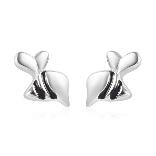 Platinum Overlay Sterling Silver Enamelled Stud Earrings (with Push Back)