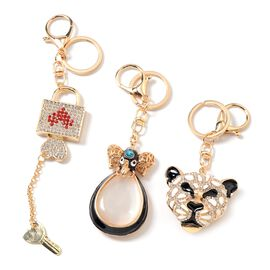 3 Piece Set - Simulated Cats Eye White (Pear), Multi Colour Austrian Crystal Leopard Head, Elephant Head and Heart Lock Key Chain with Lobster Lock in Gold Tone