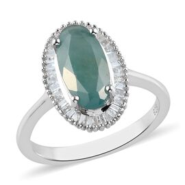 Grandidierite and White Diamond Ring in Platinum Overlay Sterling Silver 2.26 Ct.