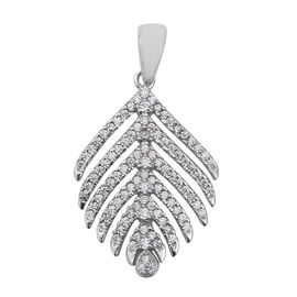 ELANZA Simulated Diamond Tree Leaf Pendant in Rhodium Plated Sterling Silver