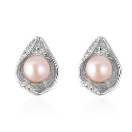 Fresh water pearl - Pink (3.00 Ct),White Zircon Sterling Silver Earring  3.200  Ct.