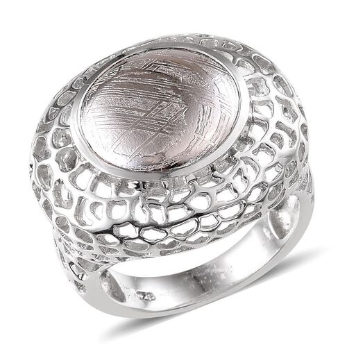 Meteorite (Rnd) Ring in Platinum Overlay Sterling Silver 14.750 Ct.