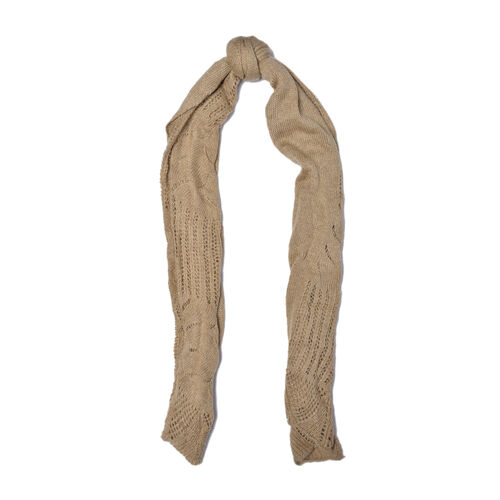 Lace Design Khaki Colour Knitted Scarf (Size 180x60 Cm)