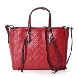 One Time Close Out Deal-100% Genuine Leather Black and Red Snake Skin Pattern Tote Bag with Detachab