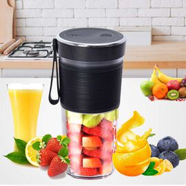 Super Auctions - Rechargeable and Portable 350 ml Juicer Blender with Three Blades - Black